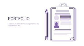 Portfolio Business Resume Concept Web Banner With Copy Space. Vector Illustration Stock Image