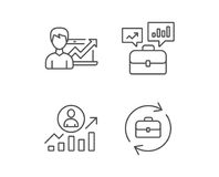 Portfolio case, Business results and HR icons. Royalty Free Stock Images