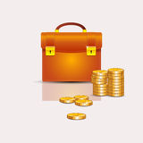 Portfolio with coins Royalty Free Stock Photography