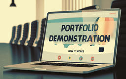 Portfolio Demonstration on Laptop in Conference Hall. 3D. Portfolio Demonstration Concept. Closeup of Landing Page on Mobile Computer Display in Modern Stock Photos