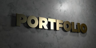 Portfolio - Gold sign mounted on glossy marble wall - 3D rendered royalty free stock illustration. This image can be used for an online website banner ad or a royalty free illustration