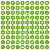 100 portfolio icons hexagon green. 100 portfolio icons set in green hexagon isolated vector illustration stock illustration