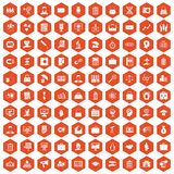 100 portfolio icons hexagon orange. 100 portfolio icons set in orange hexagon isolated vector illustration Stock Photography