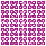 100 portfolio icons hexagon violet. 100 portfolio icons set in violet hexagon isolated vector illustration royalty free illustration