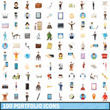 100 portfolio icons set, cartoon style. 100 portfolio icons set in cartoon style for any design vector illustration Stock Illustration