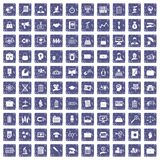 100 portfolio icons set grunge sapphire. 100 portfolio icons set in grunge style sapphire color isolated on white background vector illustration Stock Photo
