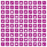 100 portfolio icons set grunge pink. 100 portfolio icons set in grunge style pink color isolated on white background vector illustration Stock Photography