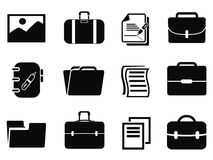 Portfolio icons set. Isolated black portfolio icons set from white background Stock Photos