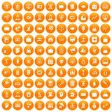 100 portfolio icons set orange. 100 portfolio icons set in orange circle isolated on white vector illustration stock illustration