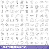 100 portfolio icons set, outline style. 100 portfolio icons set in outline style for any design vector illustration Stock Image