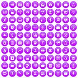 100 portfolio icons set purple. 100 portfolio icons set in purple circle isolated on white vector illustration royalty free illustration