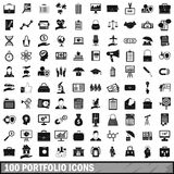 100 portfolio icons set, simple style. 100 portfolio icons set in simple style for any design vector illustration Stock Image