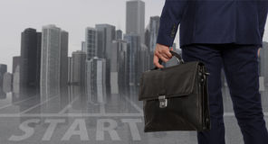 Portfolio investor. Businessman with briefcase Stock Photo
