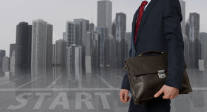 Portfolio investor. Businessman with briefcase royalty free stock photography