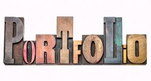 Portfolio - word abstract in wood type Royalty Free Stock Images