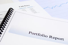 Portfolio Report. With unit trust information in background, and graph Royalty Free Stock Photography