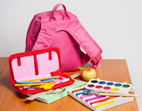 Portfolio and school supplies Stock Photography