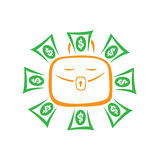 The portfolio of the sun radiates the money. Portfolio with paper money.The symbol of attracting wealth and success in business. Vector illustration Royalty Free Stock Photo