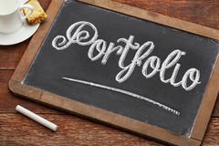 Portfolio word on blackboard Stock Photography