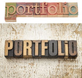 Portfolio word in wood type Stock Images
