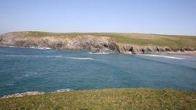 Porth Joke beach next to Crantock bay Cornwall England UK near Newquay PAN view stock video footage