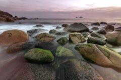 Porth Nanven - Feldbett-Tal Westcornwall am Sonnenuntergang lizenzfreie stockbilder