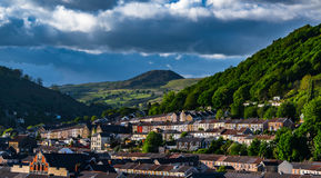 Porth and `Old Smokey.`. The Rhondda town of Porth and the remains of a coal tip known locally as Old Smokey Stock Image