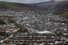 Porth, Rhondda Cynon Taff. View of Porth from the Glyn Mountain, Rhondda Cynon Taff, Wales Stock Images
