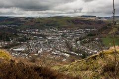 Porth, Rhondda Cynon Taff. View of Porth from the Glyn Mountain, Rhondda Cynon Taff, Wales Royalty Free Stock Images