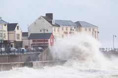 Stormy seas at Porthcawl, South Wales, UK. Porthcawl, South Wales, UK. 5 January 2017. UK weather: Huge waves along the seafront this morning as the stormy royalty free stock photos