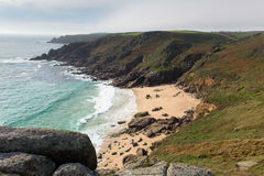 Porthchapel beach in autumn Cornwall England UK Stock Photography