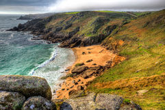 Porthchapel beach Cornwall England UK near the Minack Theatre in HDR Stock Photo