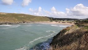 Porthcothan Bay and beach Cornwall England UK Cornish north coast stock footage