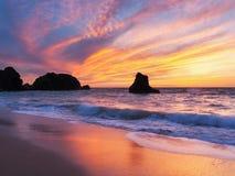 Porthcothan-Bucht-Sonnenuntergang Stockfoto