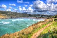 Porthcothan Trzymać na dystans Cornwall Anglia UK Kornwalijski północny wybrzeże między Newquay i Padstow w colourful HDR Zdjęcia Royalty Free