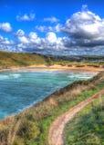 Porthcothancornwall Engeland het UK de het noordenkust Van Cornwall tussen Newquay en Padstow in kleurrijk HDR Royalty-vrije Stock Afbeelding