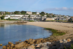 Porthcressa beach and Hugh Town, Isles of Scilly. Stock Image