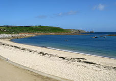 Porthcressa beach, St. Mary's Isles of Scilly. Royalty Free Stock Image