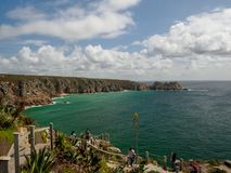 Porthcuno Bay from the Minack Theatre stock photography