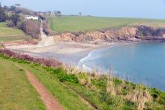 Porthcurnick Cornwall England Roseland halvö arkivfoto