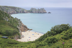 Porthcurno beach cornwall coast uk Royalty Free Stock Photo