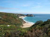 Porthcurno Beach Cornwall. On a sunny day Royalty Free Stock Image