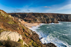 Porthcurno Beach in Cornwall Stock Image