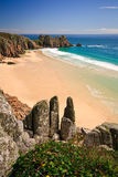 Porthcurno beach in Cornwall. Royalty Free Stock Images
