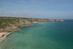 Porthcurno Beach. And its' turquoise sea water next to Minack Theatre in Cornwall UK, near Land's End Royalty Free Stock Photo