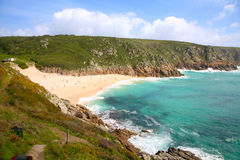 Porthcurno beach in the summer Stock Photos