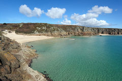 Porthcurno beach and turquoise sea. Royalty Free Stock Photography