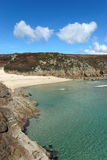 Porthcurno beach and turquoise sea. Royalty Free Stock Image