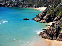 Porthcurno from the cliffs royalty free stock images