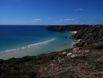 Porthcurno from the cliffs royalty free stock photos